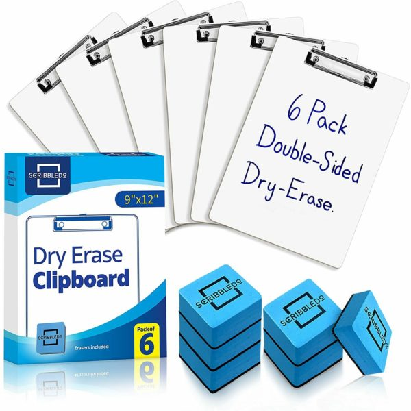6 Pack Dry Erase Clipboards